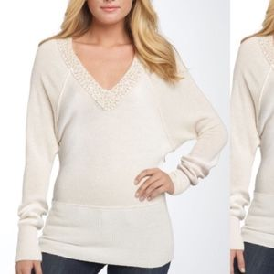Free People Dolman Sleeve Sequin V Neck Sweater
